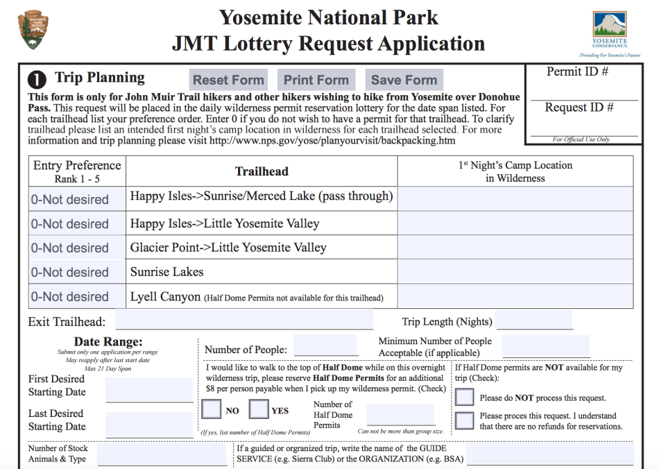 John Muir Trail permit application process form 2017 JMT guide